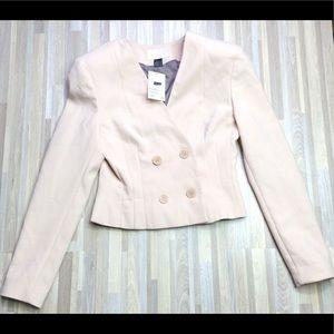 H&M Cream Beige Cropped Moto Blazer Jacket Size 6